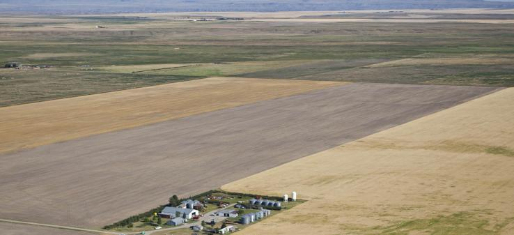 Aerial view of a farm near Stanford. Photo by Kestrel Aerial Services